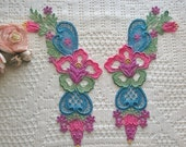 Hand Dyed Venise Lace Collar Appliques, Embellishments, Quilts, Sewing
