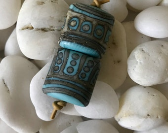 SILVERED TURQUOISE TRIBE  turquoise and silvered ivory small nugget earring pairs one pair A Beaded Gift