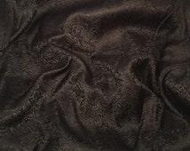 BLACK SCROLL Silk Brocade Fabric - 1 Yard