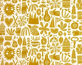 Cloud 9 Organic Kindred Fable Citron - Cotton Quilting Fabric  - fat 1/4 remnant