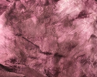 """Hand Dyed Mauve PAISLEY - Silk Jacquard Fabric - 9""""x22"""" remnant"""