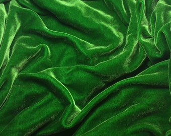 KELLY GREEN Silk Velvet Fabric - 1 Yard