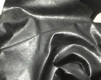 BLACK CRINKLE Cow Hide Leather Piece #4