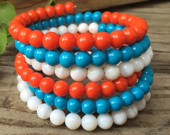 Stacked/Wrap Bracelet in Tangerine, Torquoise, and White