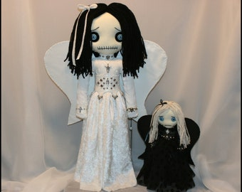 OOAK Hand Stitched Angel Rag Dolls Creepy Gothic Folk Art By Jodi Cain Tattered Rags