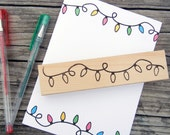 String of Christmas Lights Rubber Stamp  - Handmade by Blossom Stamps