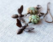 On SALE / CIJ Sale / Bee Earrings / Honey Bee Brass Earrings / Dangle Earrings / Garden Sage Green Glass Flowers / Vintage Look / Natural Br