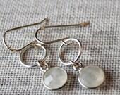 Dainty Moonstone Earrings / Sterling Silver Dangle Earring with Gemstones / Semi Precious Stones / Geometric Circular Earrings
