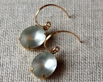 On SALE / CIJ Sale / Foggy Blue Rhinestone Earrings / Something Blue for your Wedding / Vintage Glass Wedding Earrings / Frozen Icy Blue Bra