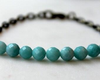 Amazonite Stone Bracelet / Turquoise Blue Stone and Brass Bracelet / Layering Bracelet / Boho Chic Bracelet / Bohemian Amazonite Bracelet