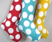 Christmas Stockings - Modern Polka Dots - Blue - Boy Girl Family - Holiday Stocking
