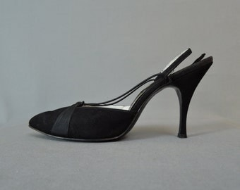 Vintage 1960s Shoes Black Suede Strappy Size 8-1/2B, Condotti, 3-3/4 inch Stiletto heels, Pointy Toe