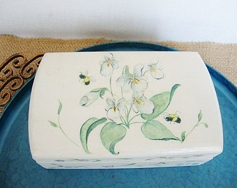 vintage painted wood box with lid white violets flowers