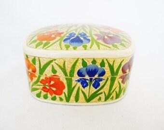 vintage painted iris flowers trinket ring box