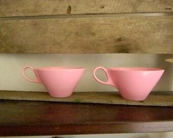 Set of 2  Pink Vintage Melmac Coffee Cups