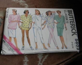 Vintage Butterick Misses Top, Shorts, Pants & Skirt Pattern #5602 Uncut Multisized