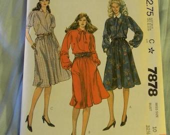 Vintage McCall's Dress Pattern #7878, Uncut Size 10