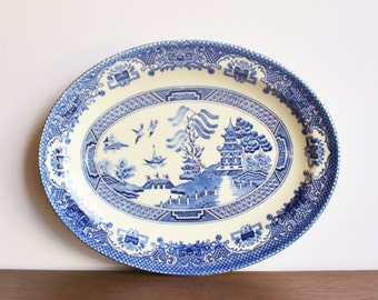 Antique Blue Willow serving platter