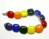 Rainbow Bracelet, Fused Glass Links, Colorful, Handmade in USA