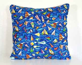Nautical Pillow - 18 Inch - Vintage Fabric with Colorful Modern Sailboats