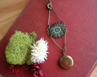 Bohemian Locket, Statement Necklace, Sunflower Necklace, Vintage Locket, Patina, Nature Inspired, Verdigris Flower, Vintage Inspired, Brass