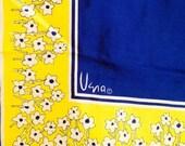 Vintage VERA NEUMANN Square Blue & Yellow Flower Scarf 22 1/2 inches
