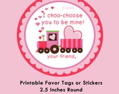 Train Valentine Tag, Instant Download Tags or Stickers --- Digital File of 12 2.5 inch Round Stickers or Tags