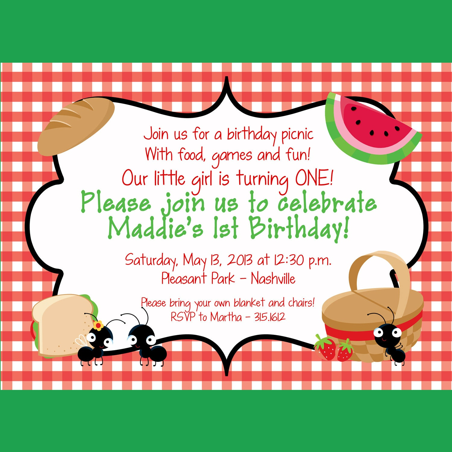 invitations and wording samples for picnics and family