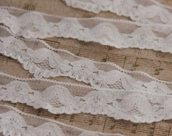 "15% OFF 1 1/4""  Stretch Lace, white lace, white stretch lace, elastic lace for lingerie, headband lace 10 yards"