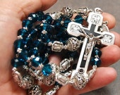 SALE Blue Aqua Rosary Stations of the Cross Silver cable by HeartFeltRosaries  d