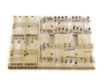 Triple Light Switch Cover Wall Decor Switchplate Switch Plate in Symphony   (157T)