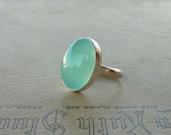 Cocktail ring,  Aqua Chalcedony ring,  Oval Aqua Chalcedony Gemstone ring, statement ring