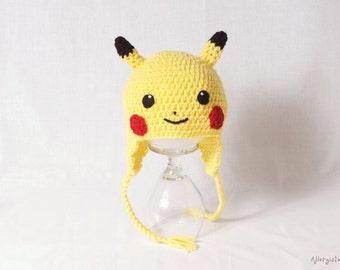 Pikachu Hat, Pokemon Hat, Handmade, Kids Hat, Kids Fashion, Toy, Anime, Stocking stuffer, Photography prop, pokemon go