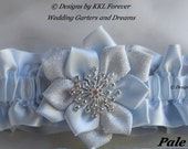 Christmas Rhinestone Snowflake Wedding Garter Handmade Pale Blue and Silver Garter