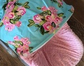 Infant Car Seat Cover, Baby Car Seat Cover in Paris Roses on Aqua with Baby Pink minky seat cover, Ruffle optional