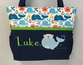 Nautical WHALE   .. DIAPER Bag .. Applique   ... Bottle Pockets ..  Personalized Free