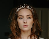 Rose gold wedding double flower crown -Bellatrix no. 2123