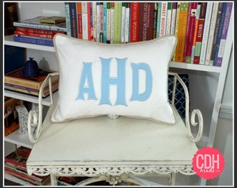 Heritage - Large Font Applique Monogrammed Pillow Cover - 12 x 16 lumbar