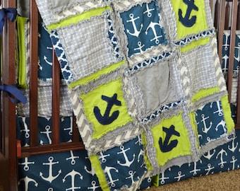 Anchor Crib Bedding Nautical Baby Quilt- Navy/ Gray/ Green Crib Bedding Nautical Quilt- Baby Boy Nursery Crib Size Rag Quilt- Boy Comforter