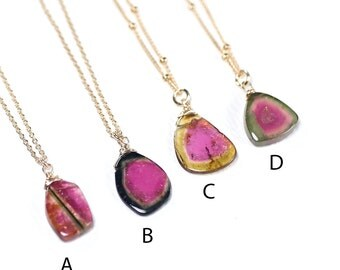 Watermelon Tourmaline necklace, AAA Tourmaline slice pendant necklace, October Birth stone, 14k Gold Filled chain, Layering pendant necklace