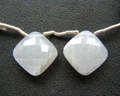 Grey Moonstone Faceted Cushions - Pair - 17mm