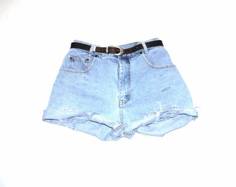 distressed pale denim shorts 90s grunge high waisted shredded jean shorts large size 32 33