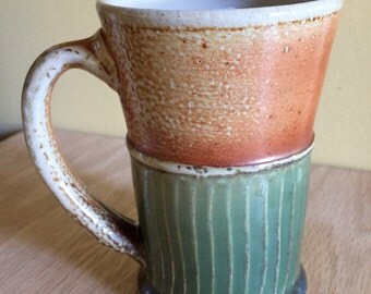 Green Carved Mug