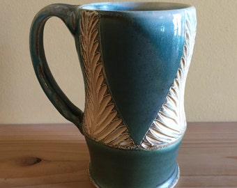 Green and Yellow Carved Mug