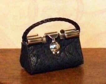 Dollhouse Miniature Black Purse or Handbag - 1/12th Scale