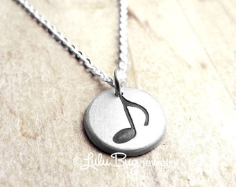 Music note necklace, music necklace, musical jewelry, eighth note necklace, gift for her, silver music note charm