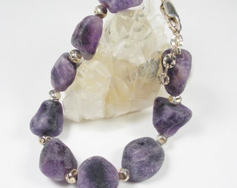 Frosted Amethyst Chunky Nuggets and Sterling Silver Bracelet