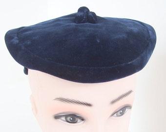 Vintage Blue Hat Velvet 1950s Clip / Tilt Hat
