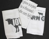 3 Flour Sack Kitchen Towels, farm, farm girl, country, farmhouse