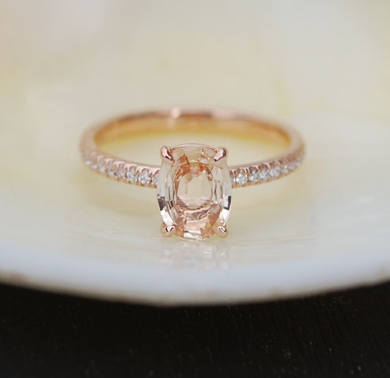 Blake Lively ring Peach Sapphire Engagement Ring oval cut 14k